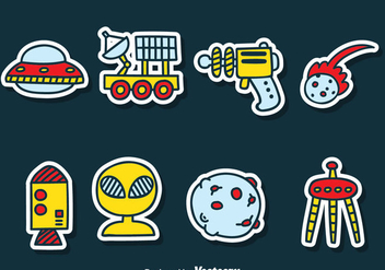 Cartoon Space Sticker Vector Set - Kostenloses vector #384659