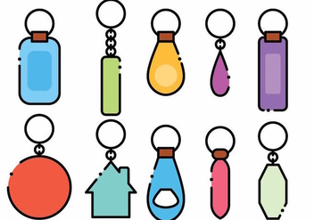 Minimalist Key Chain Vector Icon Set - vector gratuit #384959