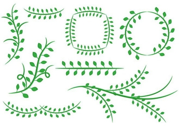 Free Natural Floral Green Leaves Ornament Vector - Kostenloses vector #385399