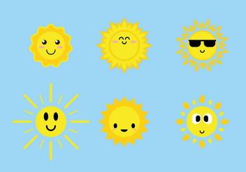 Cute Sun Icons Vector - Kostenloses vector #385799