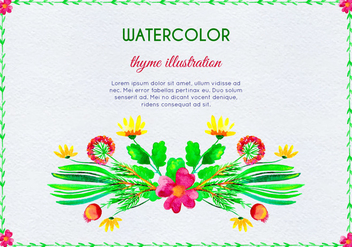 Watercolor Invitation With Thyme Flowers And Leaves - vector gratuit(e) #385999