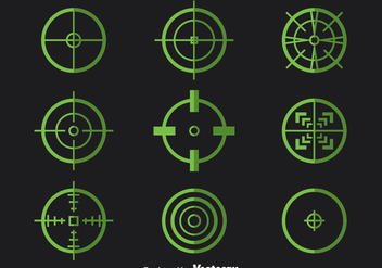 Green Crosshairs Vector Set - Free vector #386019