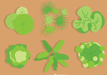 Green Tree Tops Vector Set - Free vector #386229