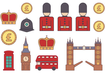 Britain Icons Set - vector #386329 gratis