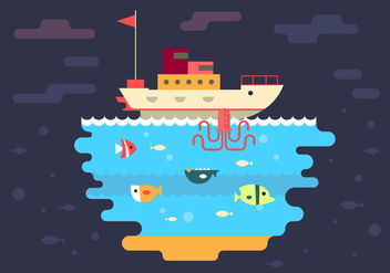 Free Boat and Under Sea Vector Illustration - vector gratuit #386619