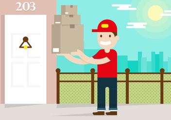 Delivery Man Flat Illustration Vector - Kostenloses vector #386629