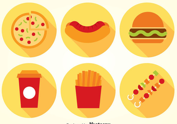 Fast Food Flat Icons Vector - Free vector #386709