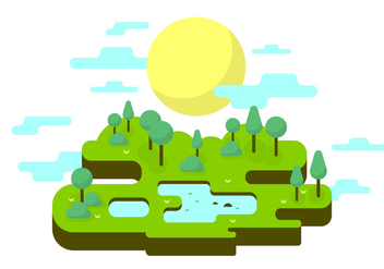 Sunny Park Vector Illustration - бесплатный vector #387089
