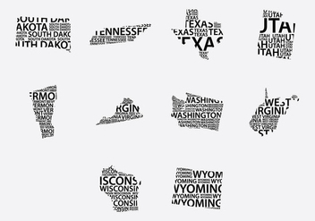 America Word Map Set - vector #387209 gratis