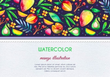 Free Vector Watercolor Mango and Fruit Card Illustration - Free vector #387579