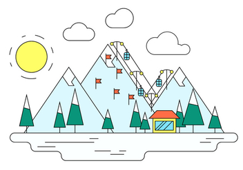 Winter Ski Resort Vector Illustration - Free vector #387659