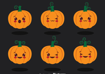 Cute Pumpkin Collection Vector - vector gratuit #388109
