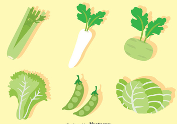 Green Vegetable Vector Set - Free vector #388119