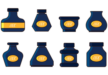 Set Of Ink Pot Vector - Free vector #388149