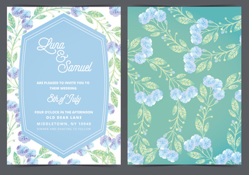 Lilac Flower Vector Wedding Invite - бесплатный vector #388459