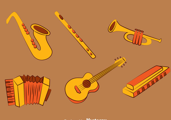 Hand drawn Music Instrument Vector Set - Free vector #388799