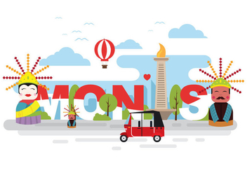 Bright and Fun Monas Illustration - бесплатный vector #389219