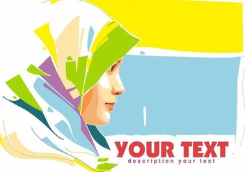 Hijab Islamic Woman Popart Portrait - vector gratuit #389769