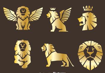 Gold Lion Symbol Vector - Free vector #389899