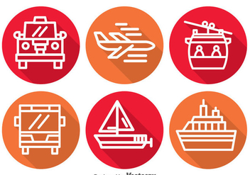 Transportation Long Shadow Icons - Free vector #390159
