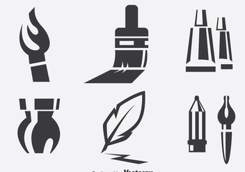 Paint Tools Icons Set - Free vector #390169