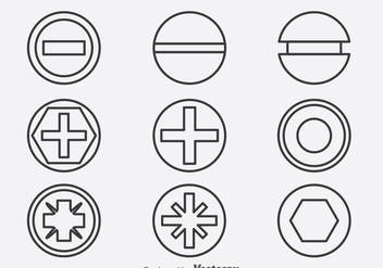 Bolt And Nail Head Line Icons - Free vector #390179