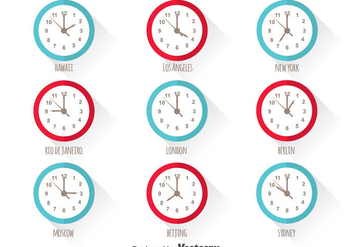 World Time Zone Vector Set - Free vector #390309