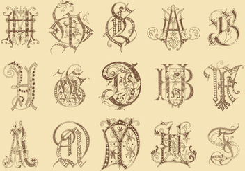 Ancient Monograms - vector gratuit #390399