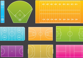 Courts Line Icons - vector #390419 gratis