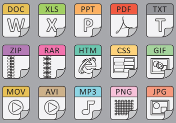 File Types Line Icons - vector gratuit(e) #390429