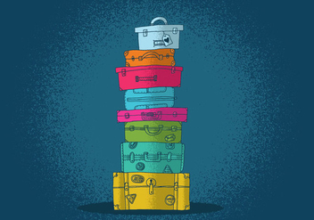 Colorful Suitcase Vectors - бесплатный vector #390749