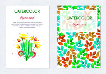 Free Vector Hand Drawn Watercolor Herb Floral Cards - vector gratuit(e) #390759
