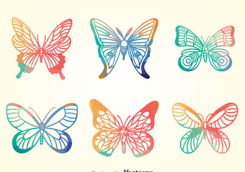 Colorful Butterfly Collection Set - vector gratuit #390819
