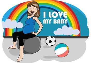 Free Pregnant Mom Illustration - Free vector #391169