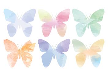 Vector Watercolor Butterflies - Free vector #391259