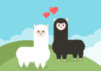 Free Cartoon Alpaca Couple Vector Illustration - Free vector #391309