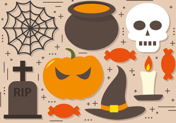Spooky Halloween Elements Vector Collection - vector #391339 gratis
