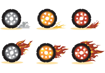 Burnout Wheel Vector Set - vector gratuit #391509