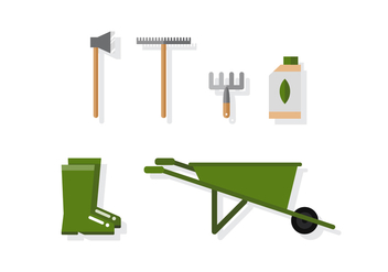 Vector Green Gardening Icons - Free vector #392009