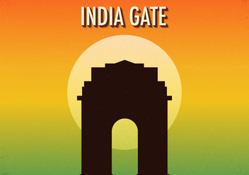 Free Retro India Gate Vector Illustration - Free vector #392239