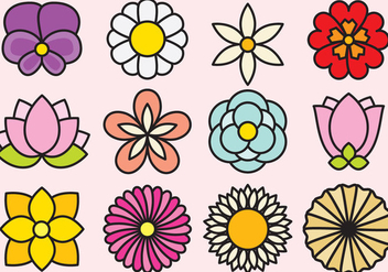 Cute Flowers Icons - Free vector #392909