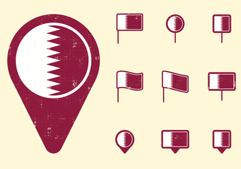 Qatar Flag and Pins - vector gratuit #392949