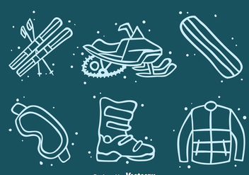 Winter Adventure Element Icons Vector - Free vector #393309