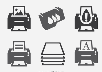 Printer Element Icons Sets - vector gratuit #393349