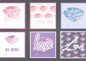 Vector Watercolor Love Cards - vector gratuit(e) #393359