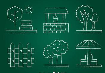 Garden Element Chlak Draw Icons Set - Free vector #393429
