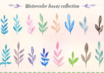 Free Vector Watercolor Leaves Collection - бесплатный vector #393549