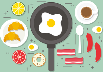 Flat Fried Egg Breakfast Vector Illustration - бесплатный vector #393849