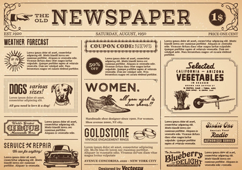 Free Old Newspaper Vector - бесплатный vector #394119