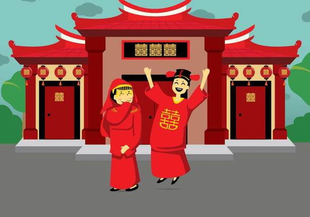 Free Chinese Wedding Illustration - Free vector #394599